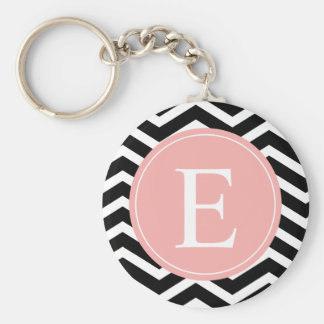 Black White Chevron Peach Monogram Keychain