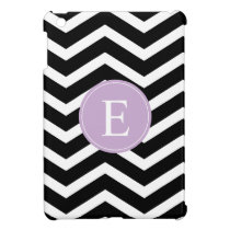 Black White Chevron Purple Monogram iPad Mini Case