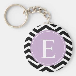 Black White Chevron Purple Monogram Keychain