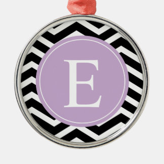Black White Chevron Purple Monogram Metal Ornament