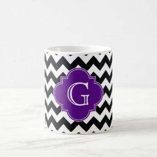 Black White Chevron Purple Quatrefoil Monogram Classic White Coffee Mug