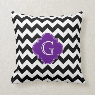 Black White Chevron Purple Quatrefoil Monogram Pillow