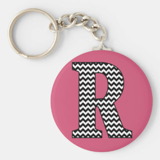 Black & White Chevron R Monogram Basic Keychain