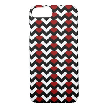Valentines Themed BLACK/WHITE CHEVRON RED HEART iPHONE 7/8 CASE