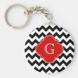 Black White Chevron Red Quatrefoil Monogram Basic Round Button Keychain
