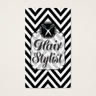 Black & White Chevron Scissors Hair Stylist Business Card