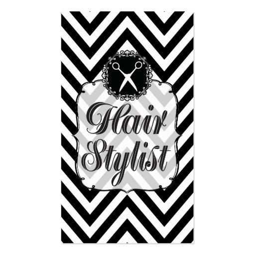 Black & White Chevron Scissors Hair Stylist Business Card Templates
