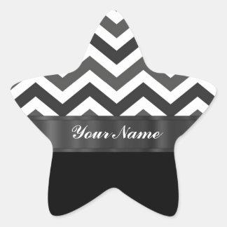 Black & white chevron star sticker