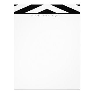 Black & White Chevron Stationery w/ Signature Text Letterhead