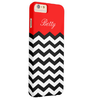 Black White Chevron Strawberry Red. Chic, Elegant Barely There iPhone 6 Plus Case