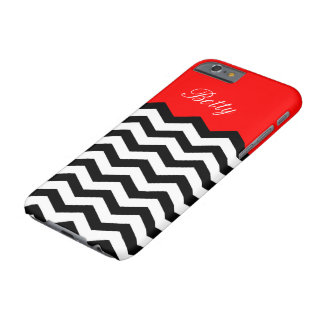 Black White Chevron Strawberry Red Custom Monogram Barely There iPhone 6 Case