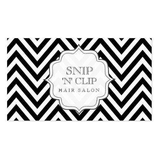 Black & White Chevron Stripes Hair Stylist Cards Business Cards