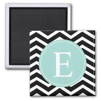 Black White Chevron Teal Monogram 2 Inch Square Magnet