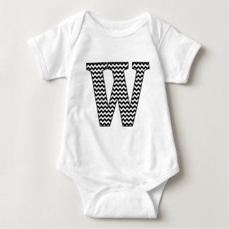 Black & White Chevron W Baby Jersey Bodysuit