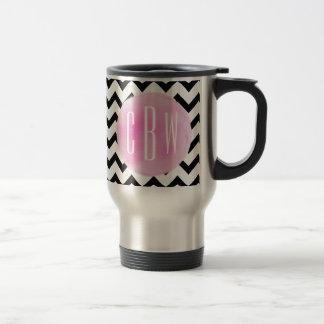 Black + White Chevron Watercolor Monogram Travel Mug