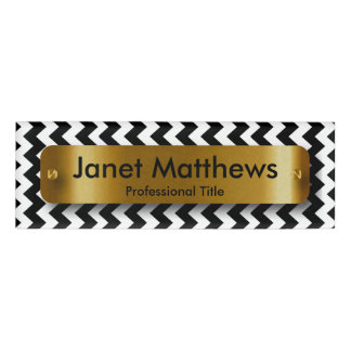 Black & White Chevron with Gold Label Plate Name Tag