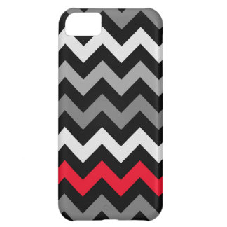 Black & White Chevron with Red Stripe iPhone 5C Cases
