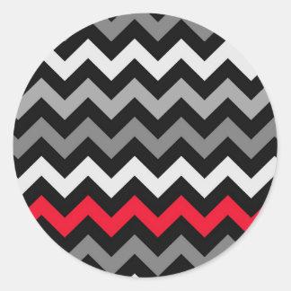 Black & White Chevron with Red Stripe Classic Round Sticker