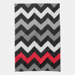 Black & White Chevron with Red Stripe Hand Towels
