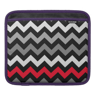 Black & White Chevron with Red Stripe Sleeve For iPads