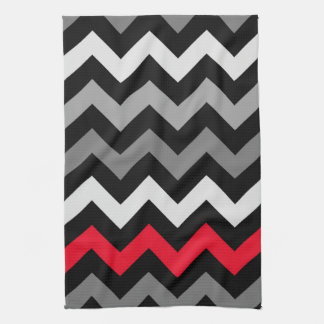 Black & White Chevron with Red Stripe Kitchen Towel