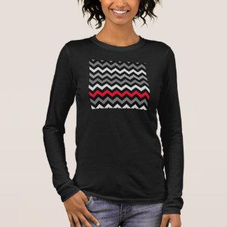 Black & White Chevron with Red Stripe Long Sleeve T-Shirt