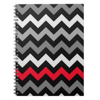 Black White Chevron with Red Stripe Journals