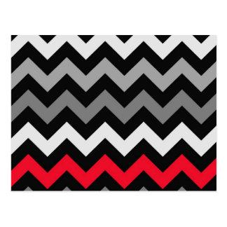 Black White Chevron with Red Stripe Post Card