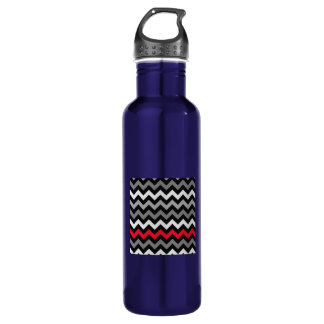 Black & White Chevron with Red Stripe Stainless Steel Water Bottle