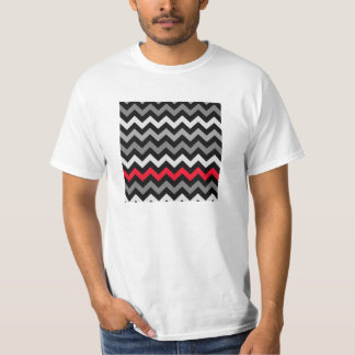Black & White Chevron with Red Stripe T-Shirt