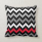 Black & White Chevron with Red Stripe Throw Pillow