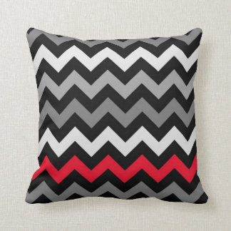 Black & White Chevron with Red Stripe Throw Pillow
