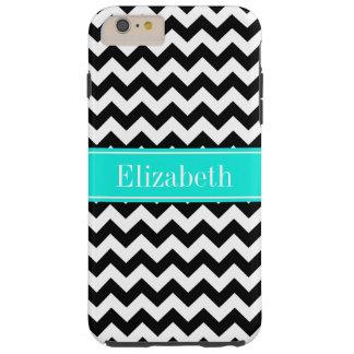 Black White Chevron Zig Zag Brt Aqua Name Monogram Tough iPhone 6 Plus Case