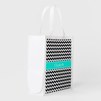 Black White Chevron Zig Zag Brt Aqua Name Monogram Grocery Bag