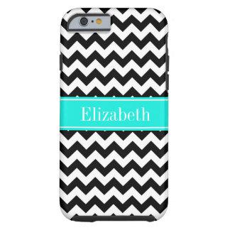 Black White Chevron Zig Zag Brt Aqua Name Monogram Tough iPhone 6 Case