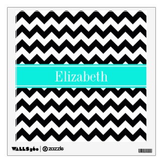Black White Chevron Zig Zag Brt Aqua Name Monogram Wall Sticker