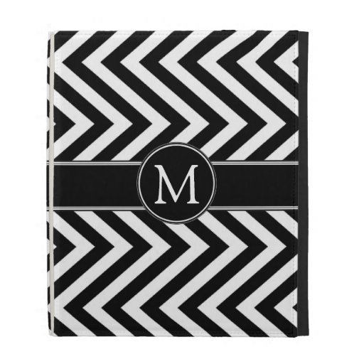 Black White Chevron Zig Zag Monogram iPad Folio iPad Folio Case