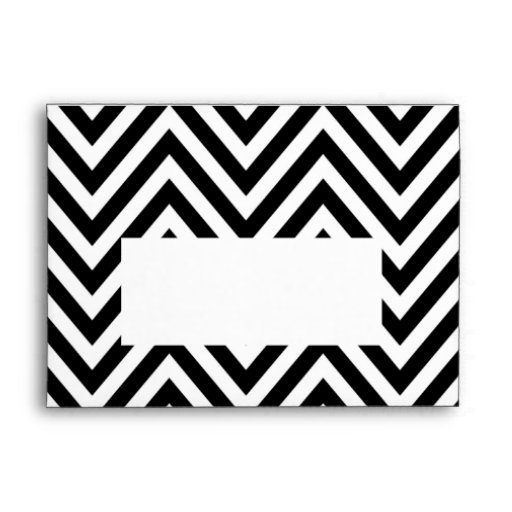 Black White Chevron Zig Zag Print A7 Envelope