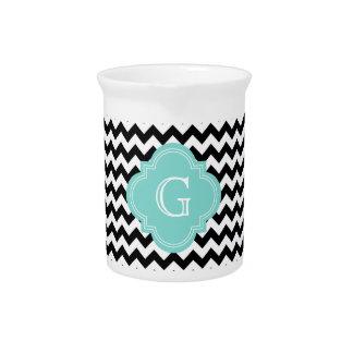 Black White Chevron Zig-Zag Turquoise Monogram Beverage Pitcher
