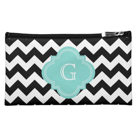 Black White Chevron Zig-Zag Turquoise Monogram Cosmetic Bag