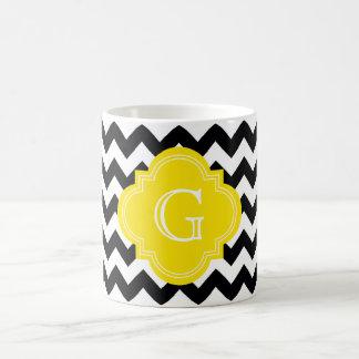 Black White Chevron Zig-Zag Yellow Monogram Classic White Coffee Mug