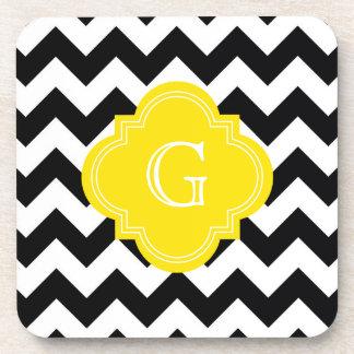 Black White Chevron Zig-Zag Yellow Monogram Beverage Coasters