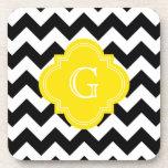 Black White Chevron Zig-Zag Yellow Monogram Drink Coaster
