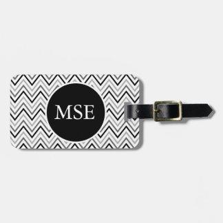 Black White Chevron Zigzag Monogram Tags For Luggage