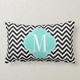 Black & White Chevron Zigzag Personalized Monogram Throw Pillow