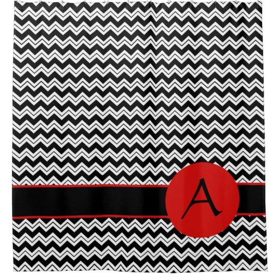 Black White Chevron ZigZag Red Monogram Custom Shower Curtain