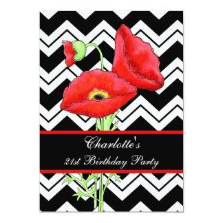 Black White Chevron ZizZag Red Poppy 21st Birthday 5x7 Paper Invitation Card