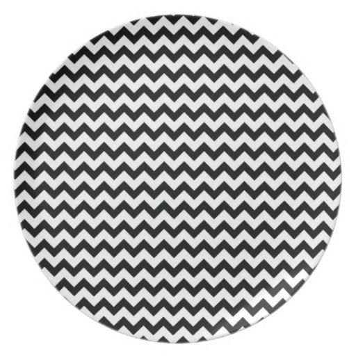 Black White Chevrons Plate