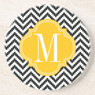 Black & White Chic Aztec Chevron Monogrammed Coasters