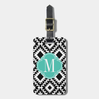 Black & White Chic Aztec Tribal Monogrammed Luggage Tag
